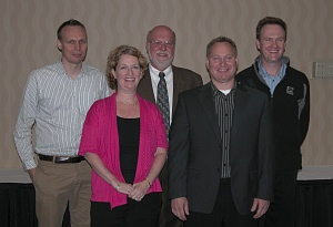 OUR ROUNDTABLE PARTICIPANTS (from left): Tom McWilliams, Environment, Health and Safety Program Manager, Suncor Energy; Sheila Bailey, Owner, Bailey Technical Services; Brian Malloch, President, PEMAC; Tim Gondek, Executive Director, Oil Sands Safety Association; and David Robinson, VP, Business Integration Improvement, FT Services.