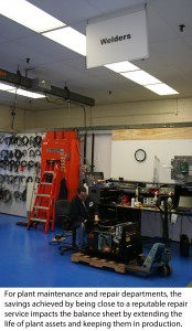 New k+s -technican repairs lincoln electric power wave in welding dept with caption