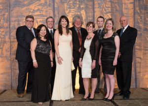 The recipients of the 2016 Engineers Canada Awards. From left to right: Andrew Mill, FEC, P.Eng., Struct.Eng.; Lianna Mah, M.Eng., FEC, P.Eng.; Dr. Donald Mavinic, PhD, FCAE, P.Eng.; Marisa E. Sterling, P.Eng.; Mark Lowey; Nancy Nelson, M.Sc.(T), P.Eng.; André Marchildon; Selena Wilson, P.Eng.; Michel de Spot, P.Eng., on behalf of SunMine. (CNW Group/Engineers Canada)