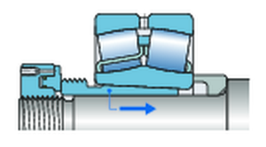 Picture 3 - Bearing mounted on a withdrawal sleeve on a stepped shaft - Two sliding surfaces